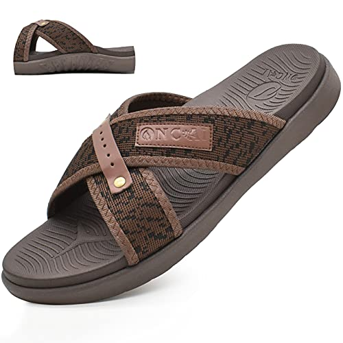 ONCAI Sandalias para Hombre Playa Plano Respirable Cruzada Grueso Soporte Sandalias de Diapositivas Suave Antideslizante verano zapatillas