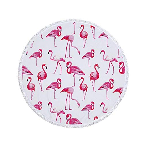 Redonda Grande Toalla de Playa Toalla Manta Mat Flamenco Rosado patrón de Playa con borlas de Gran tamaño Multifuncional de Picnic Manta - Diámetro 150cm la decoración del hogar