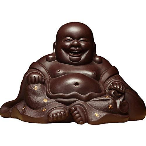 SISIZHANG Buddha Statue Mönch Statue Tee Haustier Dekoration Lila Sand glücklich Maitreya Buddha handgefertigte skulptur Dekoration Tee Spiel (Color : Purple, Size : 9 * 10 * 14.1CM)