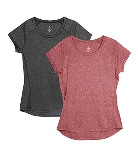 icyzone Damen Fitness Sport T-Shirt Kurzarm Laufshirt Gym Training Funktion Shirt, 2er-Pack (L, Schwarz/Weinrot)
