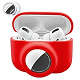 2 in 1 Protective Skin Case Compatible for Airpods Pro and Airtag Case Combo Set, Silicone GPS Tracker Cover Holder, Soft Shock-Proof Anti-Scratch Anti-Lost(Red)