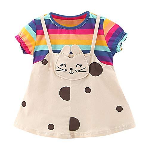 LUNE Cotton1-3 Ans T-Shirt Robe D'été pour Filles Cat Mignon Mode Enfant en Bas âge Enfants Bébé O-Neck Vêtements de Genou-Longueur Tenues Nouveau en 2020 (18-24 Mois, Violet)