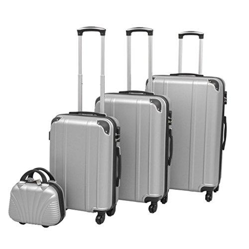 vidaXL 4- teilig Kofferset Hartschalenkoffer Reisekoffer 4 Rollen Trolley Silber Koffer, 30 cm, Nummernschloss Liter, Silbern