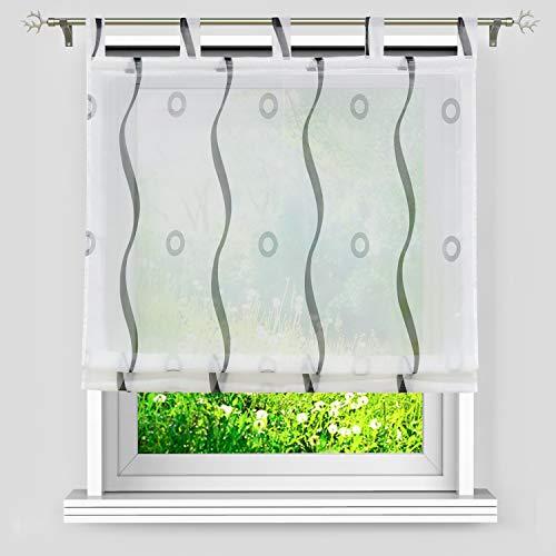 Heichkell Bedrucktes Raffrollo mit Schlaufen Voile transparent Raffgardine Gardine für Küche Wellen-Kreis Muster Weiß-Schwarz H×B 140×120cm