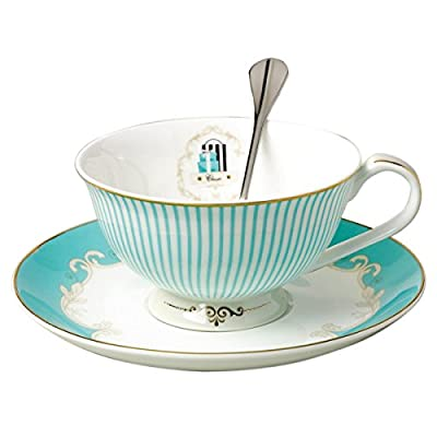 Jusalpha Vintage Blue Bone China Teacup Coffee Cup Spoon and Saucer Set (FL-TCS01)