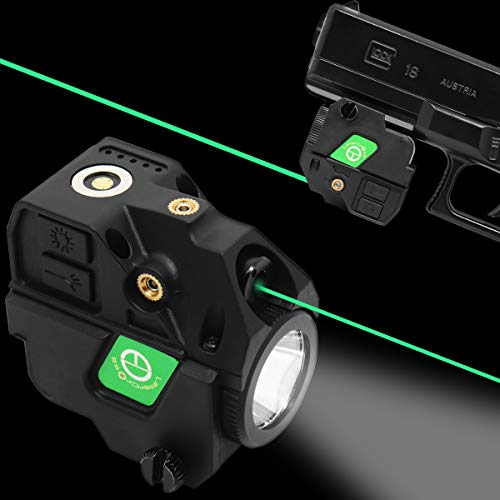 Lasercross New Version CL103 Laser Sight- Megnetic Touch Charging Green Dot Sight,LED Flashlight Combo Build-in Lithium Battery Sights with 20mm Rail Picatinny On/Off Switch for Air Pistol,Airgun