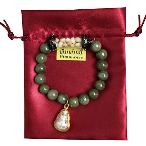 Bracelet Green Stone Real Buddha Feng Shui Holy Thai Amulet Sacred Relics Sarira Phra Tath Takrud Pendant with Lucky Gourd Silver Prosperity Luck Success Promote Love Wealth in Life Trade Flourishing