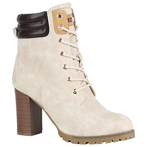 Damen Schuhe Schnürstiefeletten Worker Boots Stiefeletten Block Absatz 150551 Nude Autol 37 Flandell