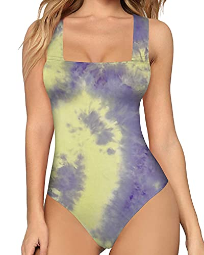 MANGOPOP Women's Square Neck Sleeveless Tank Top Long Sleeve Bodysuits Jumpsuits (Sleeveless Tie-dye (20034-1), XX-Large)