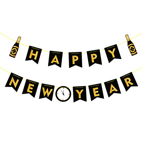 Amosfun Happy New Year Banners New Year decorações ano novo banner de pendurar feliz ano novo festa foto adereço novo anos véspera festa suprimento