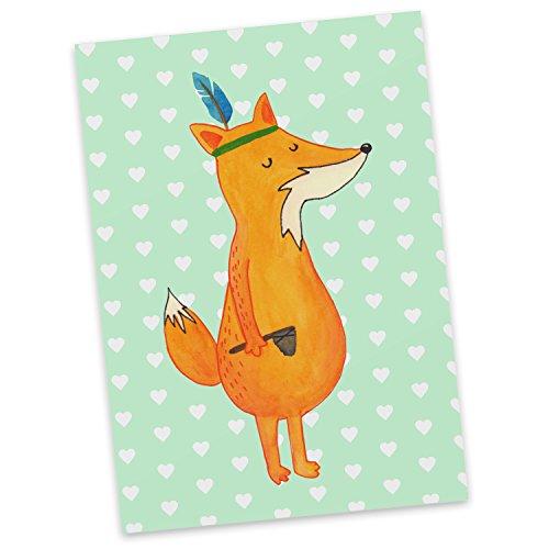 Mr. & Mrs. Panda Postkarte Fuchs Indianer - 100% Handmade in Norddeutschland - Pappe, Füchse, Spruch lustig, Einladung, Karte, Indianer, Geschenk Koch, Fuchs, Papier, Kochen, Karton, Postkarte