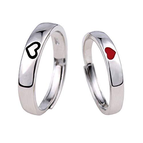 Anelli per Coppia - Anelli Personalizzati per Lui e per lei, Set di Anelli di promessa (Un Paio di Anelli, Dimensioni Regolabili)