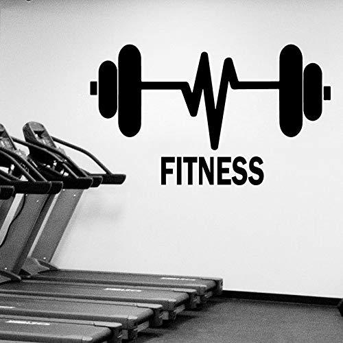 GYM Fitness Sports Dumbbell Barbell ECG Polyline Logo Etiqueta de la pared Vinilo Arte Calcomanía Sala de entrenamiento Dormitorio Bodybuilding Club Decoración para el hogar Mural