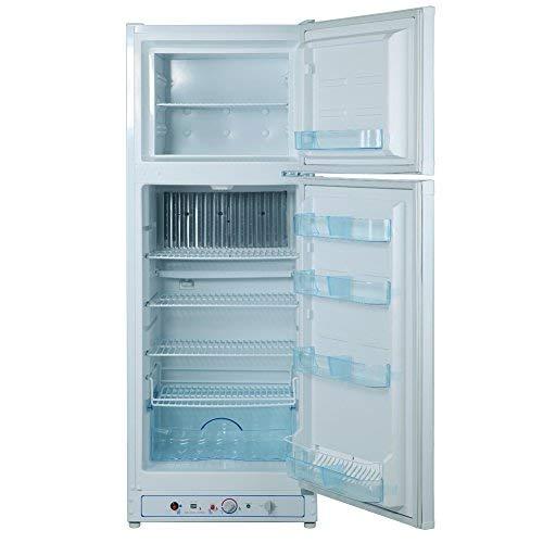 Smad Gas-Kühlschrank mit Gefrierschrank für Garage, Wohnmobil, Wohnwagen, 265 l, 240 V/LPG, Weiß
