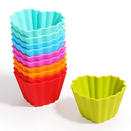 Kayaso Reusable Silicone Baking Cups, None-Stick Cupcake Muffin liners, Mini Cake Mold, BPA free, Fluted Heart Mold, 12 pack, Assorted Colors, Standard Size