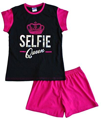Pigiama corto da bambina Selfie Queen 9 a 16 anni, rosa nero rosa 9-10 Anni
