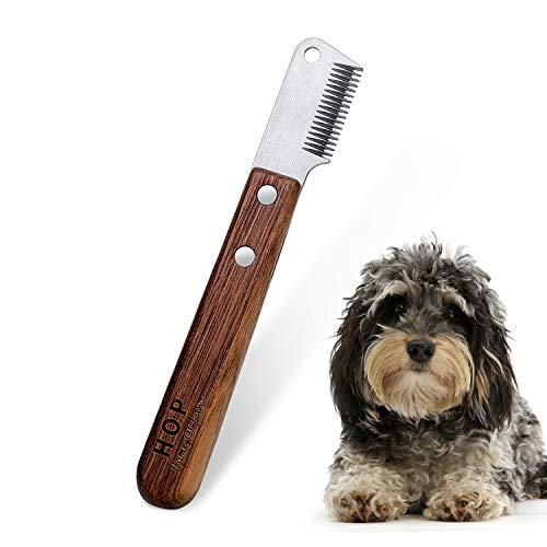 linjinde Hund Trimmmesser mit Holzgriff für Stumpf Hunde Rauhaardackel Dackel Fein Deckhaar Terrier, Mittel Abisoliermesser Braun Trimm Messer Haustierpflege Werkzeug für Haustier Pet Unterwolle
