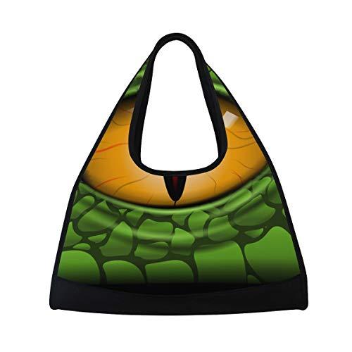 NISENASU Bolsa de Deporte,Scary Eye Reptile Vector Image,Nuevos Sports Duffels Raqueta de Tenis Mochila bádminton Paquetes de Viaje Cortos Bolso de Hombro portátil(20×6.7×18.5 in)