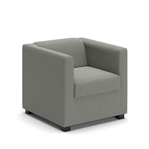 DOMO Collection Sessel Solo FK / Sessel rechteckig / Größe 73 cm x 75 cm x 69 cm (Breite x Tiefe x Höhe) / Stoff: feiner Webstoff in silber (grau), kleiner Cocktailsessel