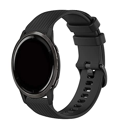 Bandas deportivas de silicona compatibles con Garmin Venu 2/Vivoactive 4 Watch Band Mujer Hombres, Slim Durable Reemplazo Pulsera Compatible con Garmin Venu 2/Garminactive Straps - Negro