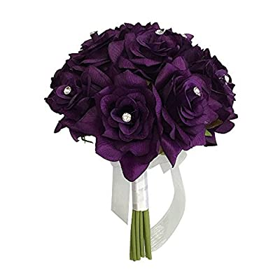 "Angel Isabella 8"" Wedding Bridal Rose Bouquet(XLBQ002-PP) - One Dozen Roses with Rhinestone - Artificial Flower Bridesmaid Toss (Purple)"