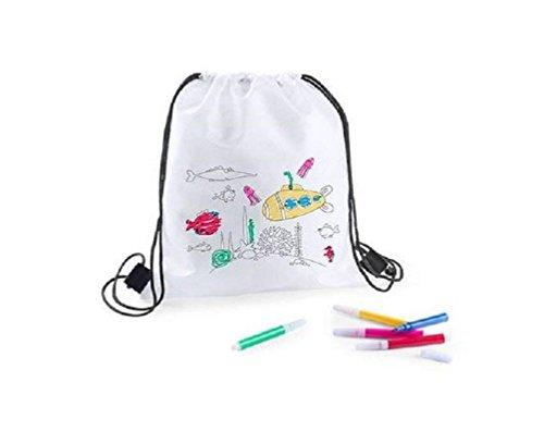 Lote 25 Mochilas Infantiles para Colorear y Pintar, Cada una Incluye 5 rotuladores. Regalo Ideal para Fiestas de cumpleaños, colegios, guarderías, Manualidades