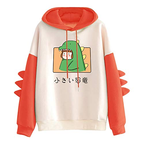 Briskorry Sudadera con capucha para mujer Kawaii Animal Dinosaurio Impreso Jersey Top Top Tallas grandes Camisa Camisa Larga Camiseta Otoño Invierno Caliente Manga Larga Sudadera Mujer con Capucha