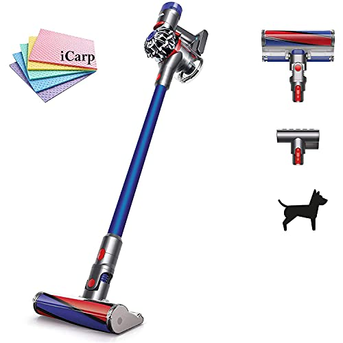 Dyson V7 Fluffy HEPA Cordless Vacuum Cleaner Combination/Crevic Tool 2 Power Modes 2 Tier Radial Cyclones No-Touch Dirt Emptying Docking Station Easily Reaches up High (Blue) + iCarp Sponge Cloths