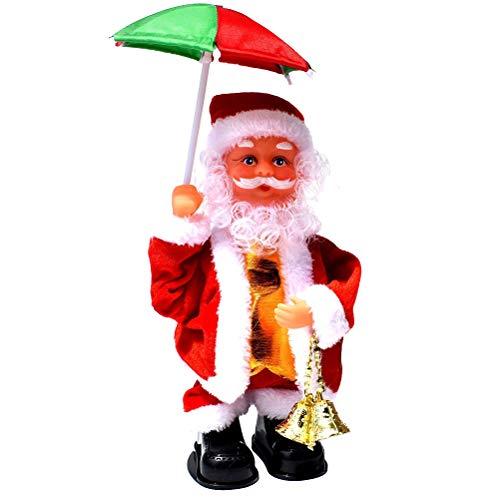 YeahiBaby Weihnachtsmann mit Musik Weihnachten Dekofigur Nikolaus Kinder elektrische Spielzeug Weihnachtsmann und Regenschirm (Ohne Batterie)