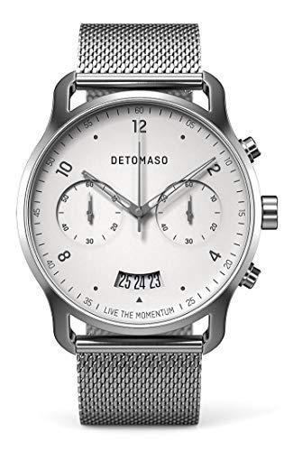 DETOMASO SORPASSO Chronograph Silver White Herren-Armbanduhr Analog Quarz Mesh Milanese Uhren-Armband Silber