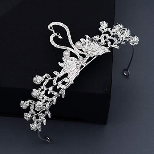 Brautschmuck Perle Wasser Diamant Kopfschmuck Edle Reine Weiße Schwan Krone Hochzeit Brautkleid Accessoires