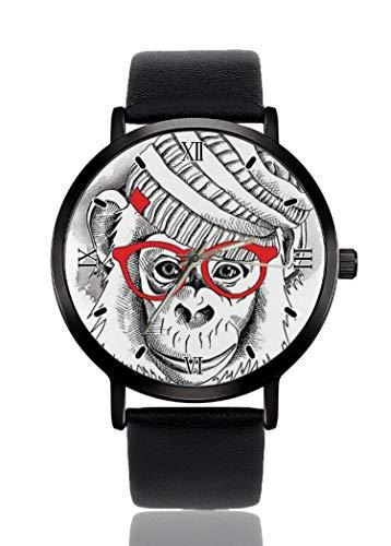 PALFREY Niedlicher Affe Baby mit Brille Armbanduhren Business Casual Sport Quarzuhr für Damen Herren Wasserdicht Unisex Uhr