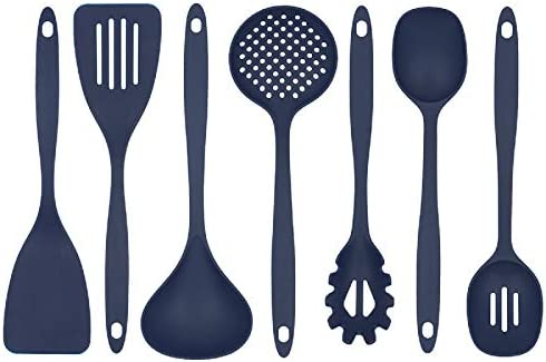 Glad Cooking Kitchen Utensils Set 7 Pieces Nylon Tools for Nonstick Cookware Blue product image