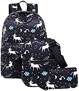 Teen Girl School Backpack with Lunch Box Pencil Case 3 in 1 Canvas Student Book Bag Laptop Bag Set Women Travel Backpack f...