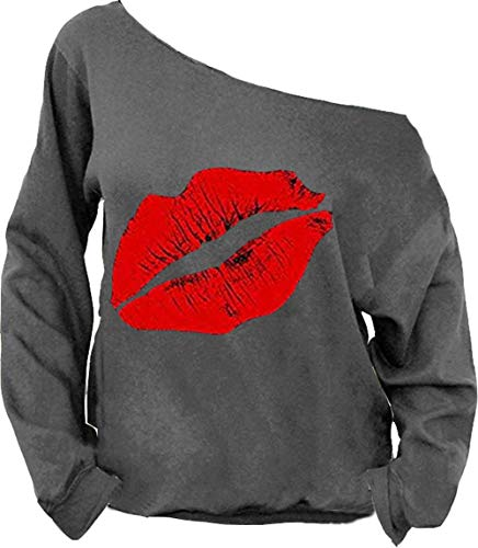 MAGICMK Woman's Sweatershirt Lips Print Causal Offer The Shoulder Slouchy Pullover Tops (Dark Gray +red, 3XL)
