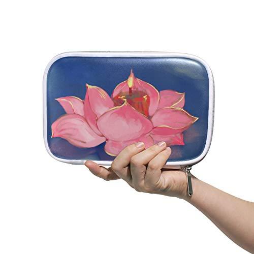 Mr.XZY Pretty Lotus - Estuche para lápices para niño y niña con patrón de acuarela multifunción de cuero portátil con cremallera para estudiante 2010473