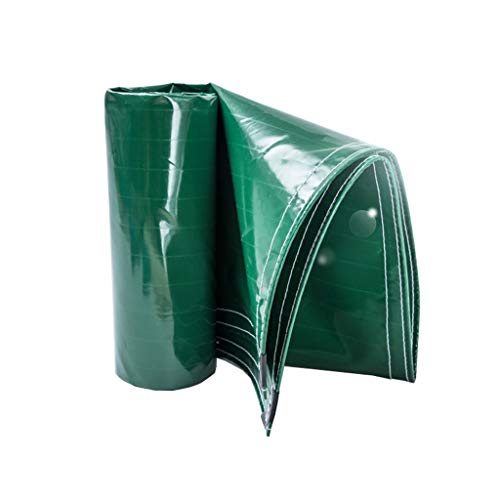 Green Tarpaulin with Eyelets - Strong Waterproof Heavy Duty Groundsheet Cover Tarps for Bushcraft Camping den Building Tarpaulin for Pool Driveway Water Slide Weeds Weight 400g/㎡
