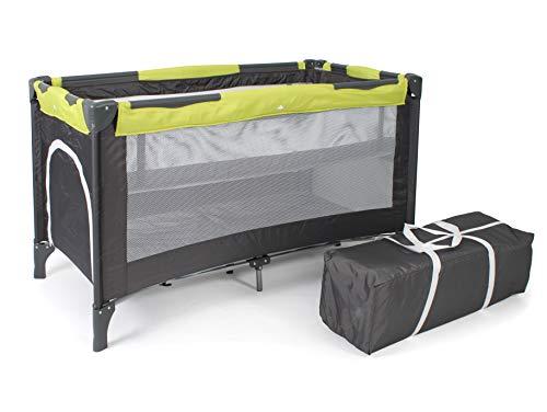 Chic 4 Baby - 340 70 - Reisebett LUXUS mit Einhängeboden für Neugeborene und Tragetasche, grau-lemongreen