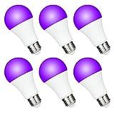 FAGUANGAO UV A19 7W LED Black Light Bulb, UVA Level 390-400nm,E26 Medium Base 100-240V, Glow in The Dark for Blacklight Party, Fluorescent Poster, Neon Glow(6 Pack)