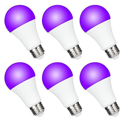 Yueximei UV A19 7W LED Black Light Bulb, UVA Level 390-400nm,E26 Medium Base 100-240V, Glow in The Dark for Blacklight Party, Fluorescent Poster, Neon Glow(6 Pack)