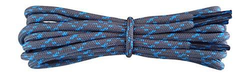 Fabmania Kleine starke Schnürsenkel für Trekkingschuhe - 3 mm rund - dunkelgrau mit blauen flecken - 120 cm
