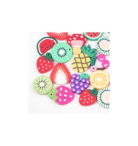 12 Fruit Charms Random Mixed Polymer Clay fimo Jewellery Making 20mm x 30mm Approx