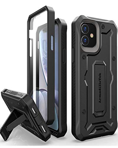 ArmadilloTek Vanguard Designed for iPhone 11 Case (6.1 inches) Military Grade Full-Body Rugged with Kickstand and Built-in Screen Protector - Black