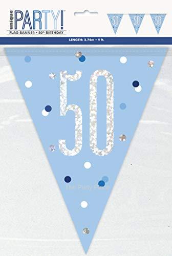 Unique Party Supplies Glitter-Blaue Wimpelkette mit 50. Geburtstag-Flaggen, aus Folie, 2,74 m (9 Fuß)