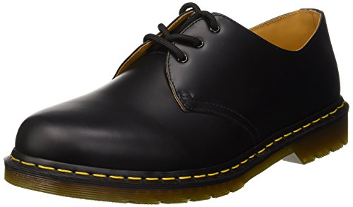 Dr. Martens 1461 Smooth 59 Last Unisex-Erwachsene Derby Schnürhalbschuhe, schwarz (black)/gelbe Nähte, 39