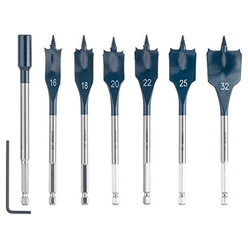 Bosch 2608587009 ' Professional 7-Piece Self Cut Speed Spade Bit Set with 1/4 Inch Hex Shank, Including Extension , 16mm/18mm/20mm/22mm/25mm/32mm