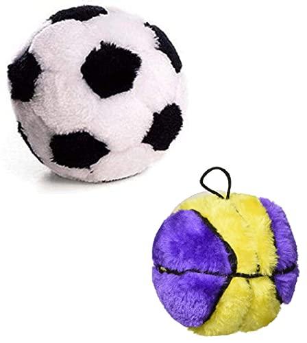 Ethical Pet Plush Basketball Dog Toy & Plush Soccer Ball Dog Toy Bundle