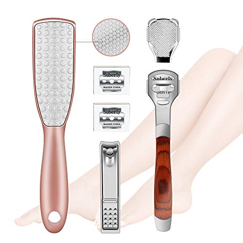 Professional Callus Remover Pedicure Kit 6 in 1, HZONE 2-Sided Stainless Steel Foot File Rasp with Callus Shaver and Nail Clippers for Foot Care, Remove Dead Skin Corns Callus at Home or Travel