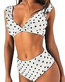 Adicloz Mujer Traje de Baño 2 Piezas Cuello en V Profundo Impresión Punto de Onda Volante Fruncido Bikini Sexy Cintura Alta Bikini de Playa Acolchado Bañador