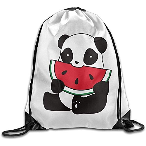 AllenPrint Turnbeutel,Panda Mit Wassermelone Unisex Kordelzug Cinch Taschen Zum Klettern Wandern Reisen 36x43cm